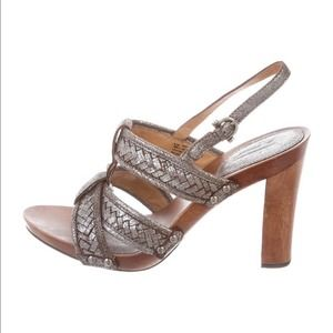 Frye Dolly Woven Leather Slingback Heeled Sandals